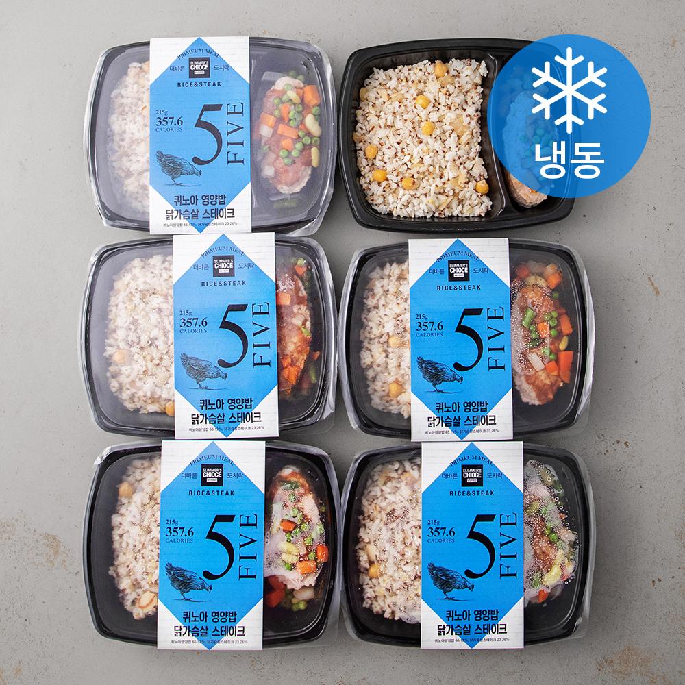더바른 퀴노아 영양밥 닭가슴살 스테이크 (냉동), 215g, 6개