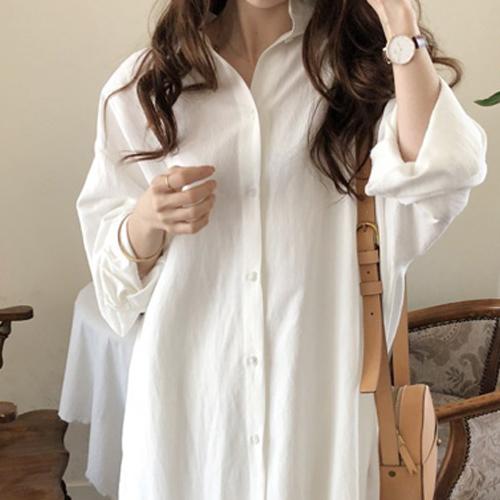 공블리 여성용 코튼 오버핏 셔츠 원피스 CSB1118