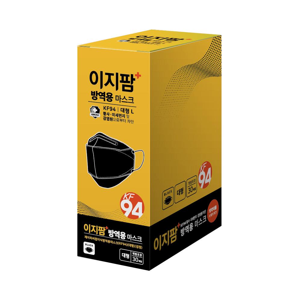 이지팜 NEW 황사 미세먼지 방역용 마스크 대형 KF94 검정, 30개입, 1개