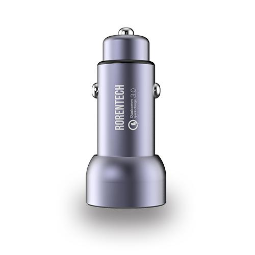 로랜텍 퀄컴 3.0 차량용 듀얼 고속 충전기, 메탈실버, GRT-911