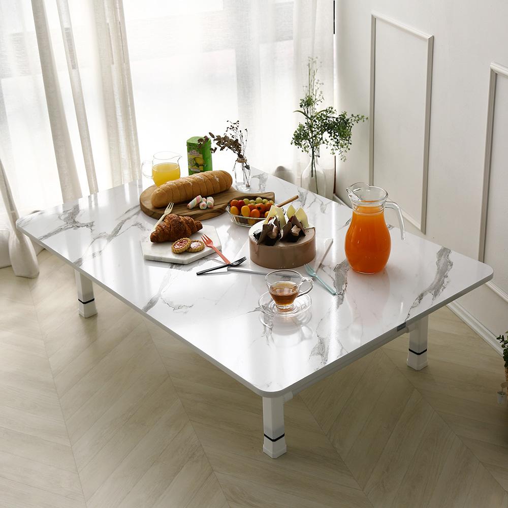 [레몬트리] 레몬트리 높이조절 접이식 테이블 1200 x 800 mm, 마블 화이트 - 랭킹5위 (50250원)