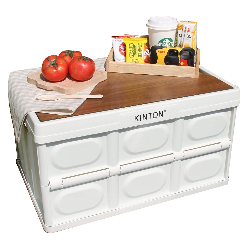 킨톤 트렁크정리함 캠핑테이블 57L + 상판, 밀크화이트(정리함), CTI9(상판)