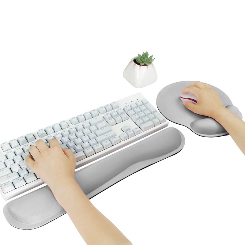 메모리폼 키보드 손목보호패드 + 마우스 손목보호패드 대, 1세트, 그레이