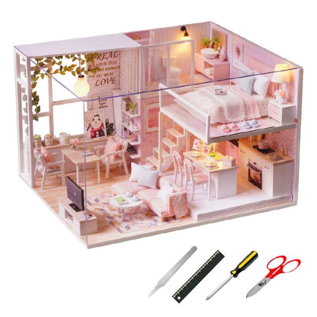 아이엠미니 스위트타임 하우스 미니어쳐 DIY 키트 + 제작 도구 + 보관 케이스 세트, 혼합색상