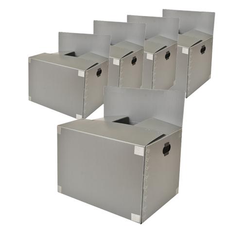 바른산업 이사박스 4호 고급형 500x400x300, 은색, 5개 (POP 4501333446)