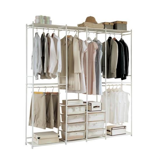 휴센 골드 2000 드레스룸 옷장 + 서랍, 크림화이트