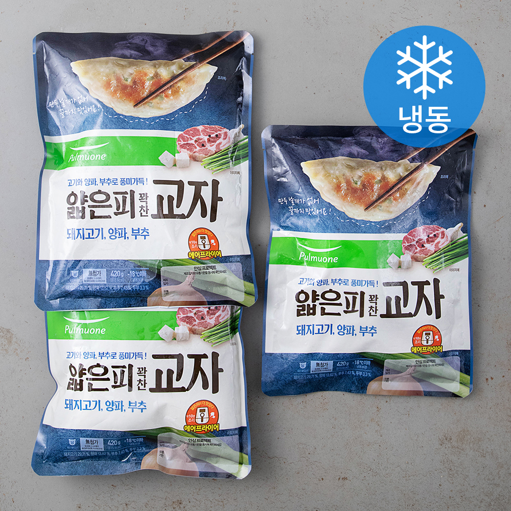 풀무원 얇은피 꽉찬 교자 만두 (냉동), 420g, 3개