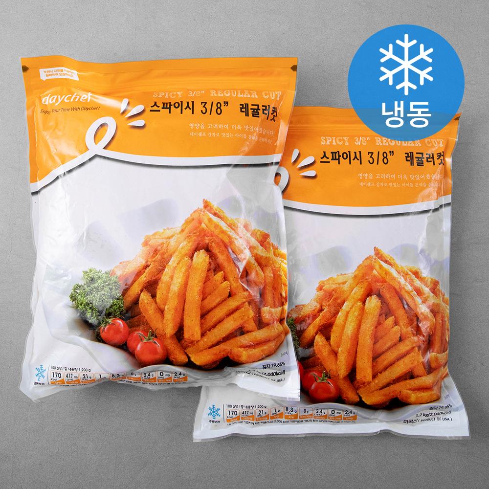 데이쉐프 스파이시레귤러컷 감자튀김 (냉동), 1.2kg, 2개