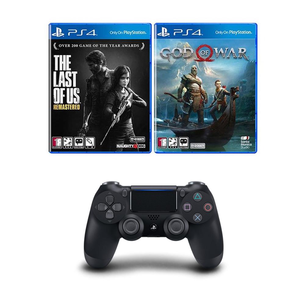 PS4 듀얼쇼크4 무선컨트롤러 제트블랙 + 라스트오브어스 + 갓오브워, 단일상품, 1세트