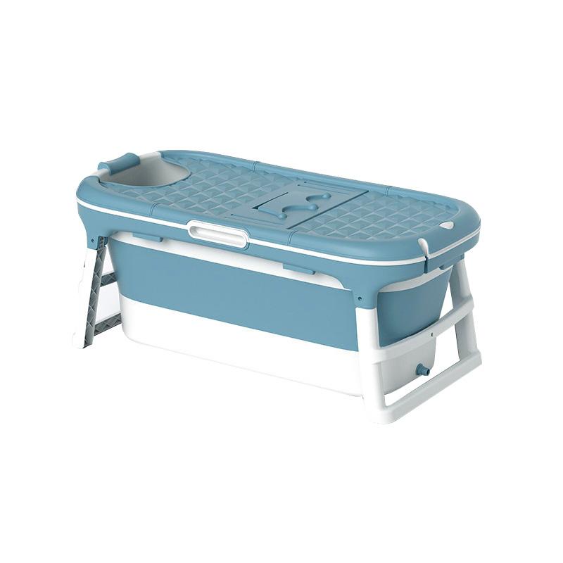 에스디엘 프리미엄 이동식 접이식 욕조 반신욕조 대형, 블루, 1개 (POP 4568035821)
