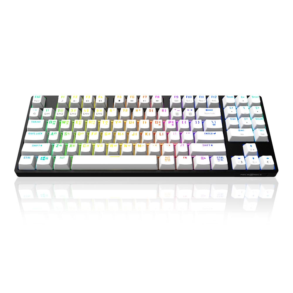 마이크로닉스 PRO 게이밍기계식 RGB 적축, 텐키리스, MANIC EX89, 블랙 + 화이트-4-4568854961