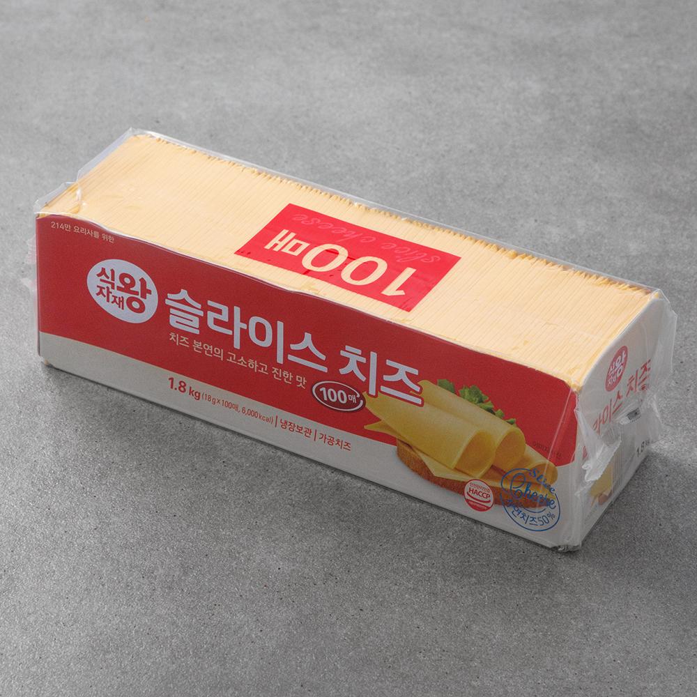 식자재왕 슬라이스 치즈 100매입, 1.8kg, 1개