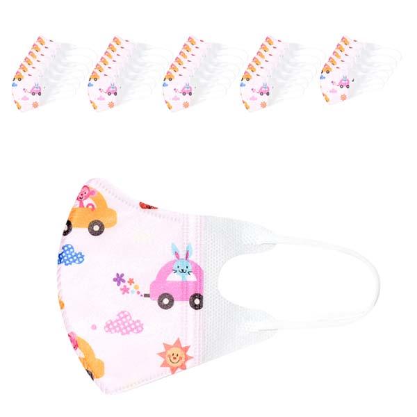 러블리앙즈 3D 입체 유아마스크 자동차 핑크 초소형 C2, 10개입, 3개