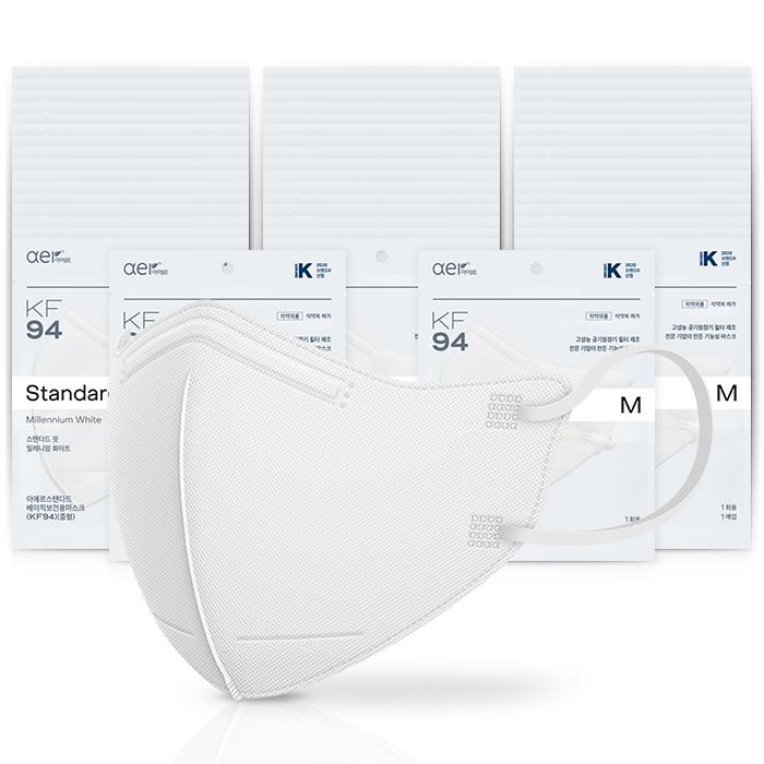 아에르 스탠다드 베이직 보건용 마스크 백색 중형 KF94, 1개입, 50개