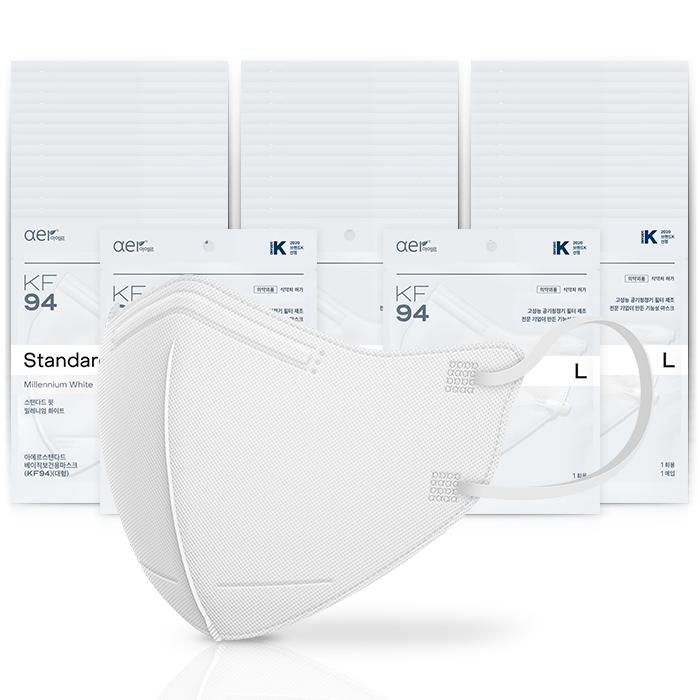아에르 스탠다드 베이직 보건용 마스크 백색 대형 KF94, 1개입, 50개