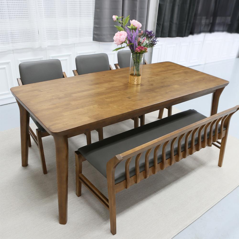 참갤러리 아로마 원목 식탁 + 의자 3p + 벤치 세트 6인용 6인 식탁 방문설치, 혼합색상