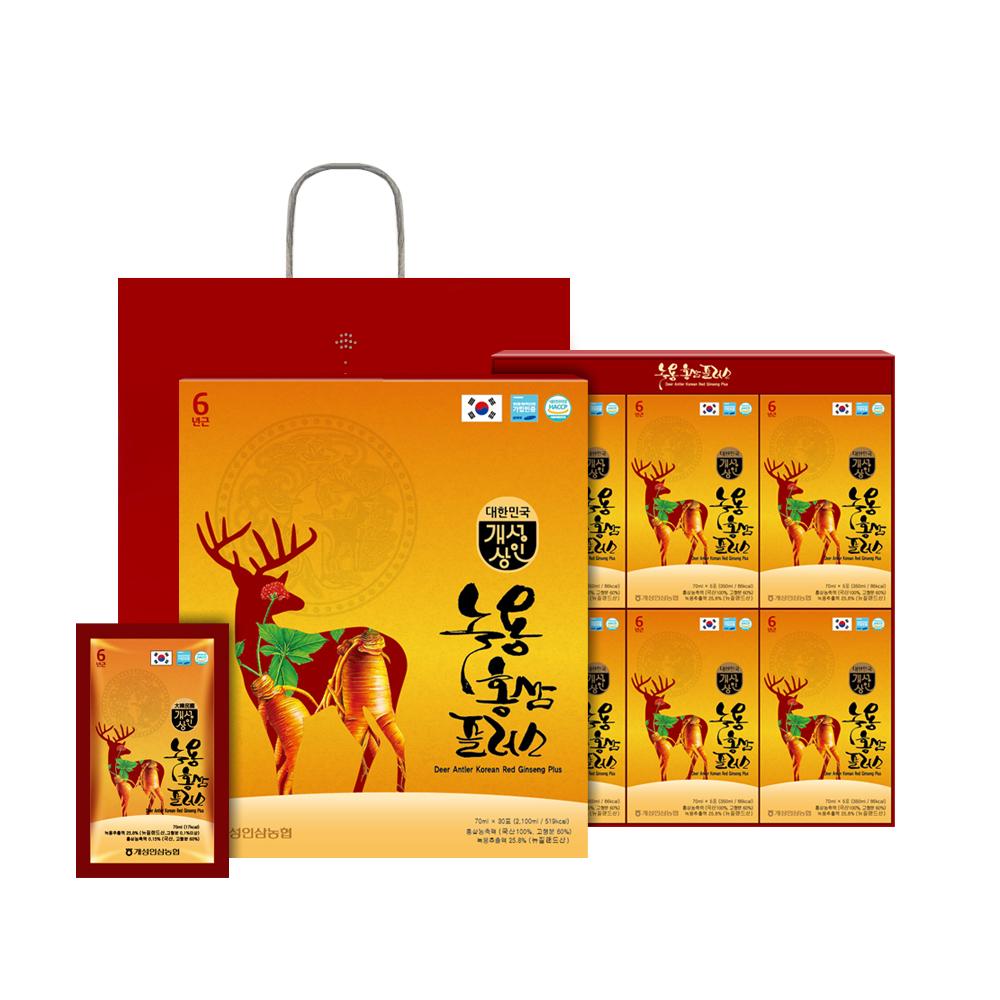개성상인 녹용 홍삼 플러스 30포 x 6박스 + 쇼핑백 6p, 70ml, 1세트