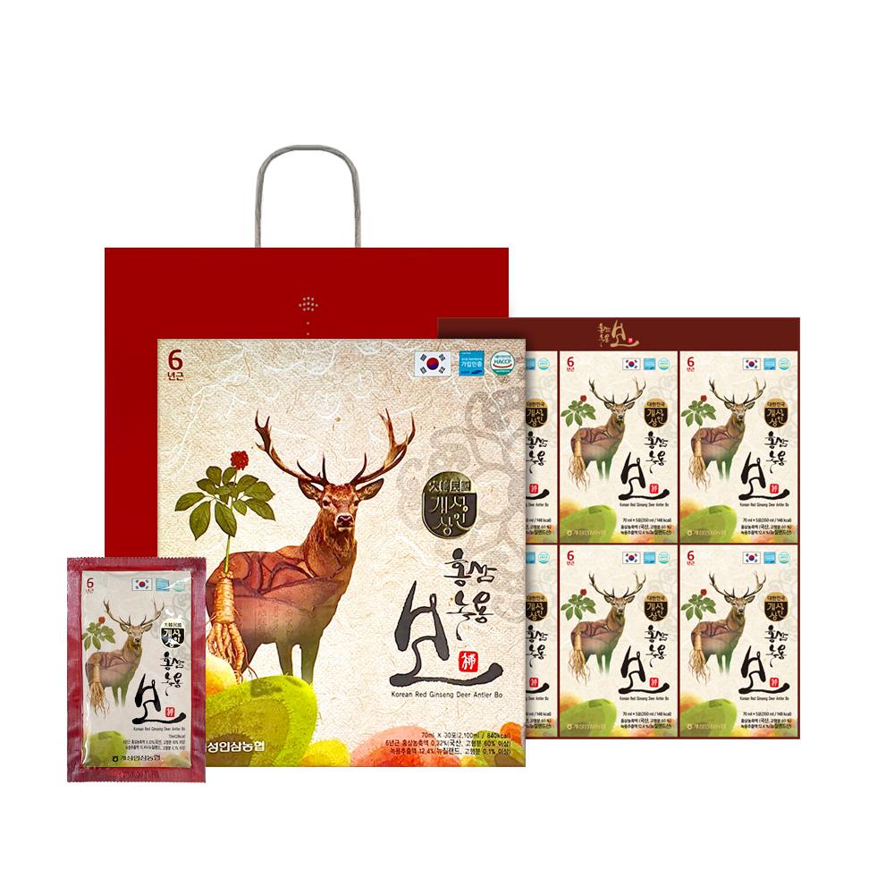 개성상인 홍삼 녹용보 30포 x 6박스 + 쇼핑백 6p, 70ml, 1세트