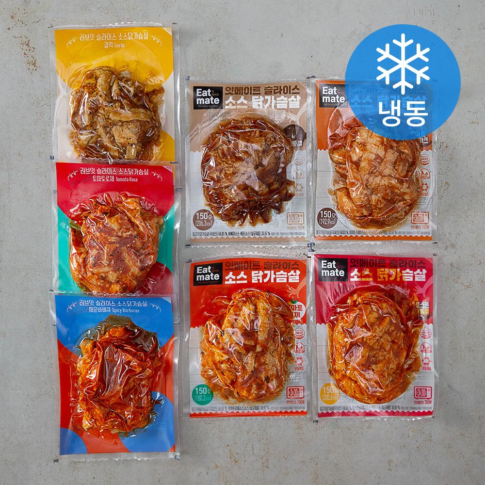 잇메이트 랭킹닭컴 소스 닭가슴살 슬라이스 7종 세트 (냉동), 1세트