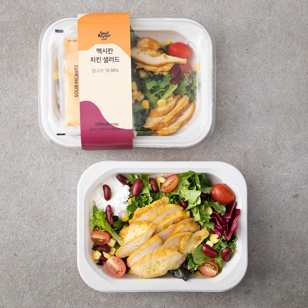 [헬스/건강식품] 스윗밸런스 멕시칸 치킨 샐러드, 210g, 2개 - 랭킹93위 (9720원)