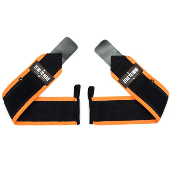 제로투히어로 헬스 손목보호대 wrist wrap Type2 기본형 Orange, 1세트-9-4883593020