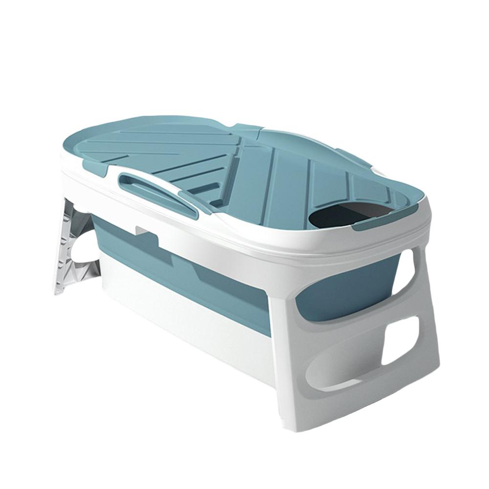 위드휴 프리미엄 접이식 욕조 + 커버 세트, 블루 대형, 1개