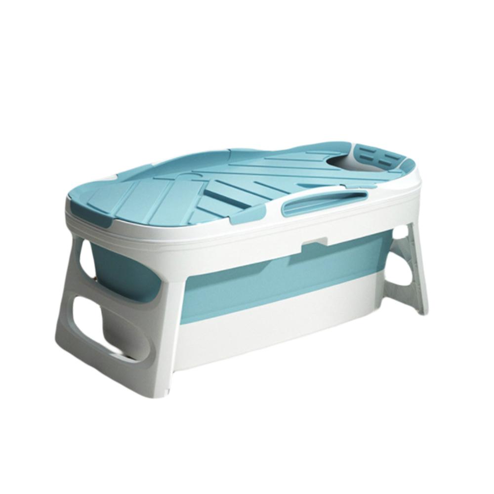 위드휴 프리미엄 접이식 욕조 + 커버 세트, 블루 특대형, 1개