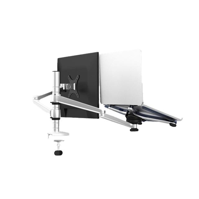벤스 듀랄루민 데스크 멀티 마운트 시스템 듀얼암 노트북거치대 BDM-700X + 태블릿 홀더, 실버 앤 화이트(노트북거치대)