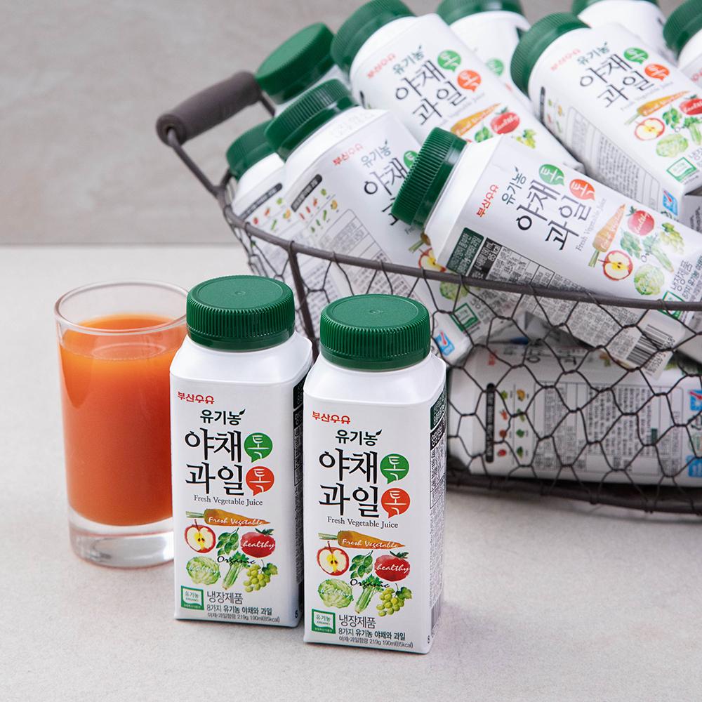 부산우유 유기농 인증 야채톡과일톡 주스, 190ml, 24개
