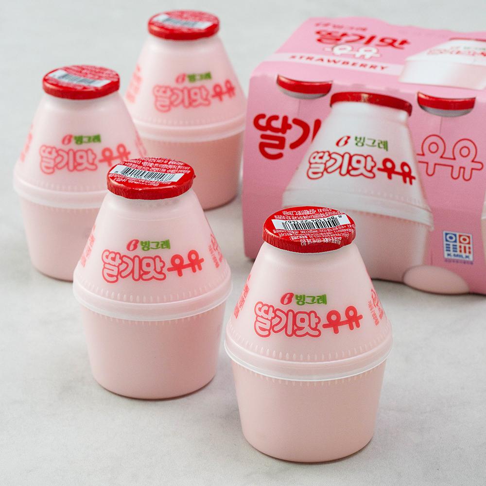 빙그레 딸기맛 우유, 240ml, 8개