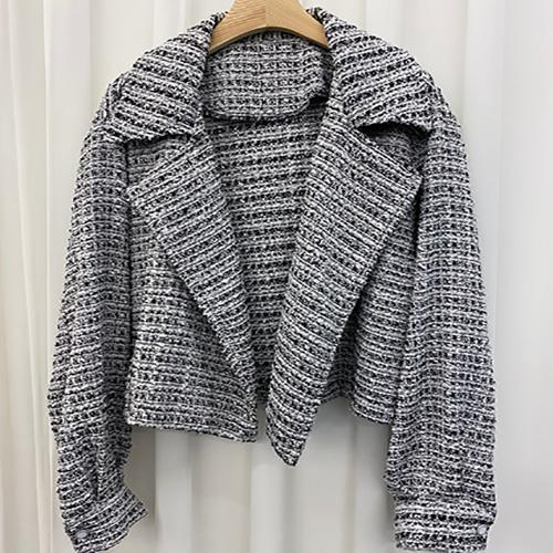 안다로미 여성용 트위드 캐주얼 체크자켓