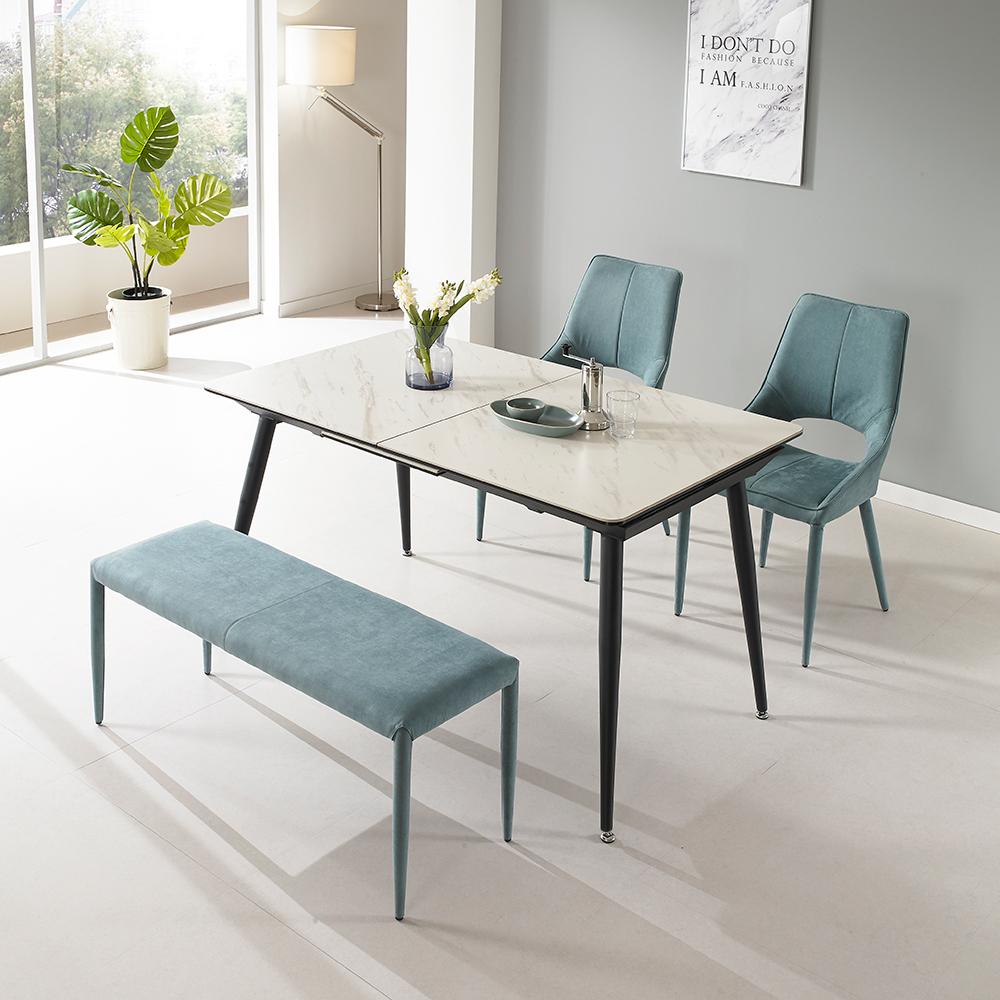 로드퍼니처 테라 4인용 확장형 세라믹 식탁세트 방문설치, 화이트 마블