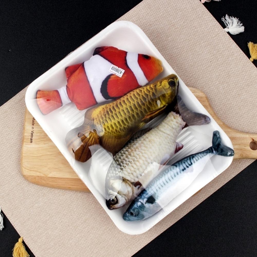 벨르펫 고양이 캣닢 물고기 인형 흰동가리 + 잉어 + 아로아나 + 고등어 세트, 혼합색상, 1세트