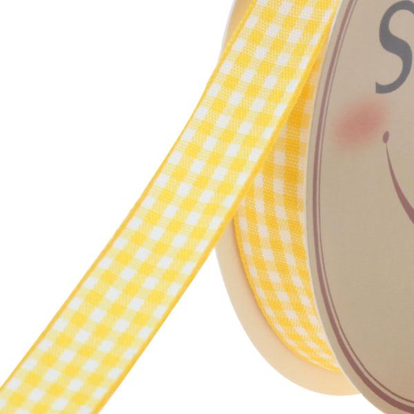 스마일리본 체크리본15mm (45미터 통롤), 노랑