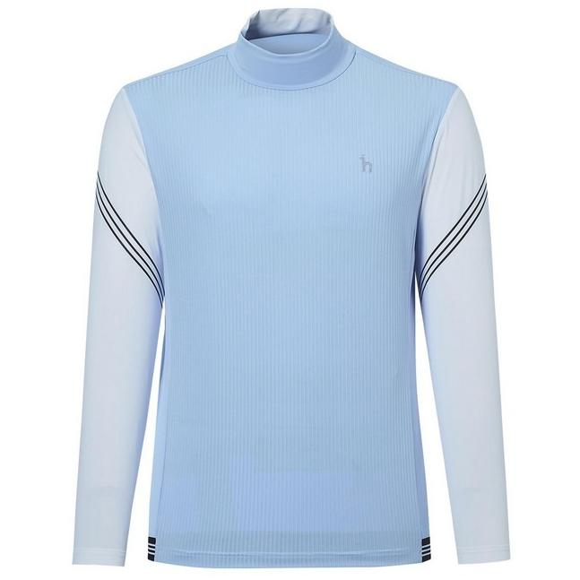 헤지스골프 남성용 앞판 스트라이프 냉감긴팔 하이넥 티셔츠 HUTS1B381B1