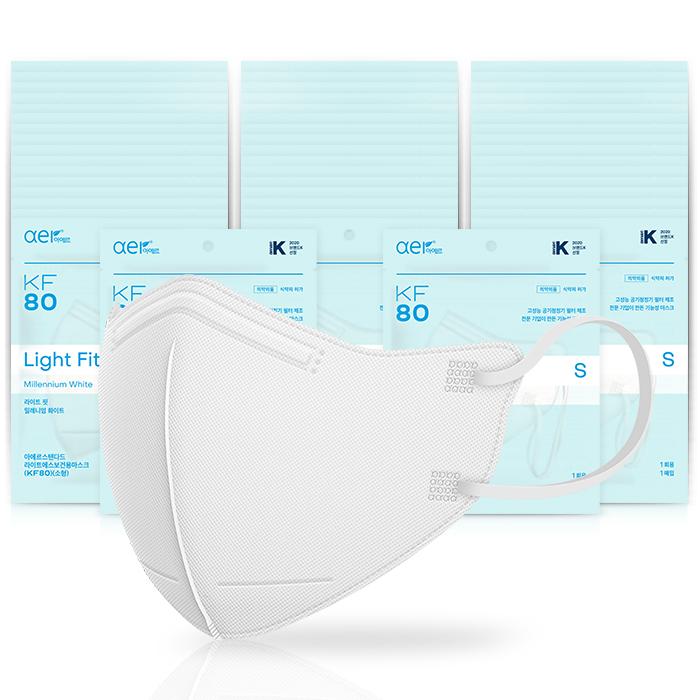 아에르 스탠다드 라이트핏 보건용 마스크 소형 KF80 백색, 1개입, 50개