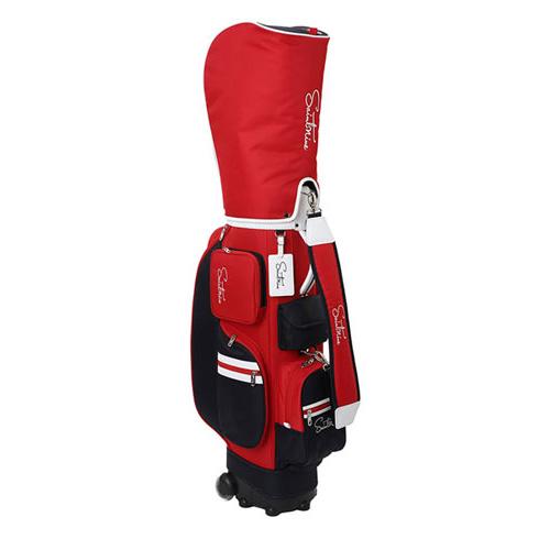 세인트나인 여성용 배색 로고 휠 캐디백 4615-223-402, 레드-2-5243535319