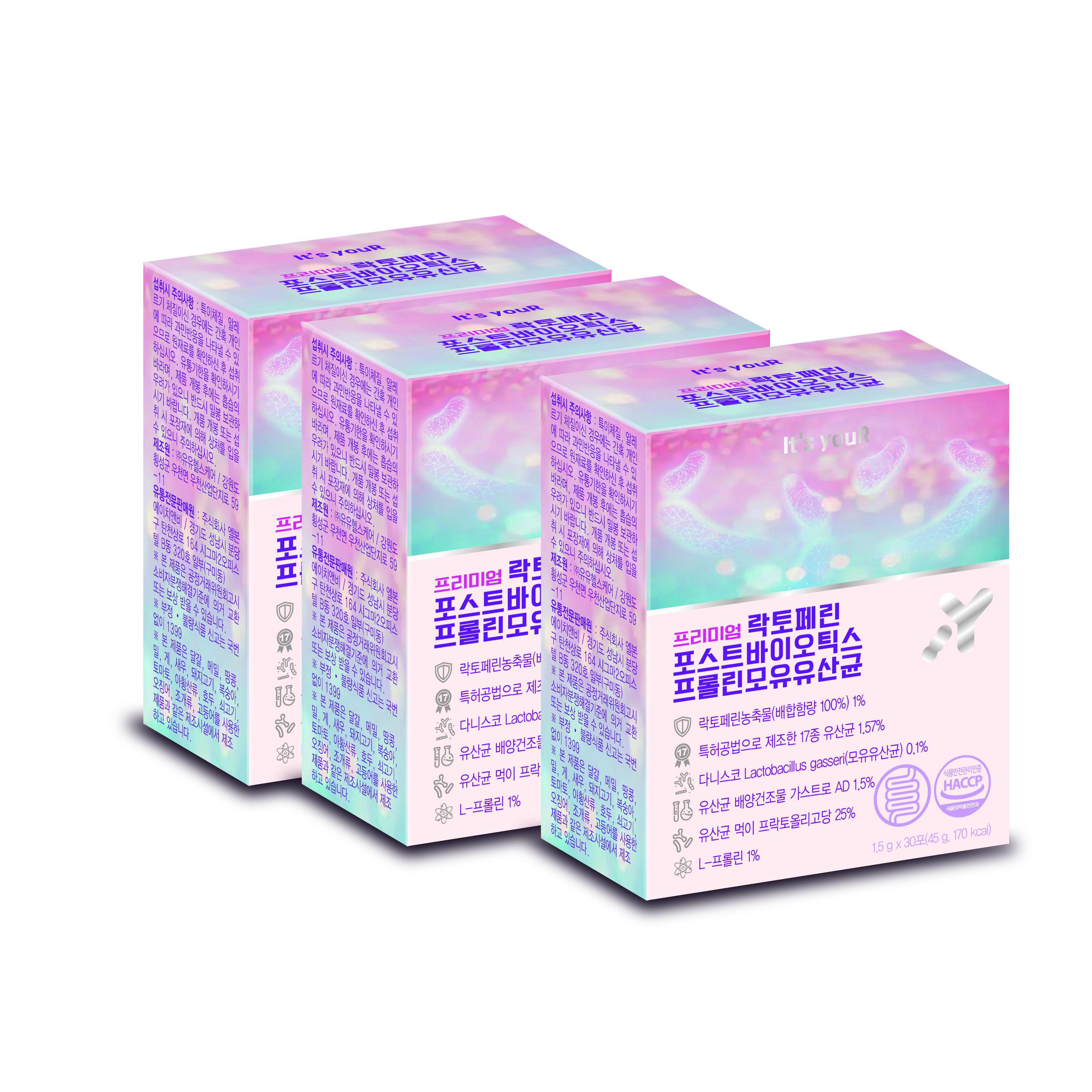 잇츠유어 프리미엄 락토페린 포스트바이오틱스 프롤린 모유유산균 1.5g x 30p, 3개, 45g