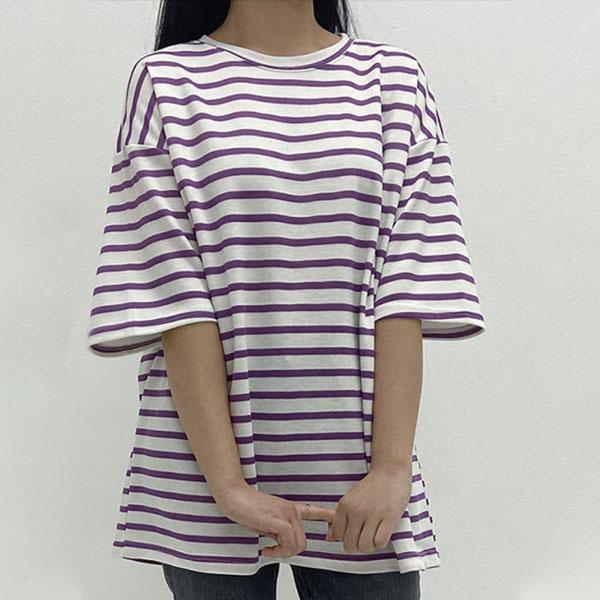 [썸머 프리핏] 투데이앤룩 여성용 프레쉬 스트라이프 오버핏 반팔 티셔츠 - 랭킹29위 (7900원)