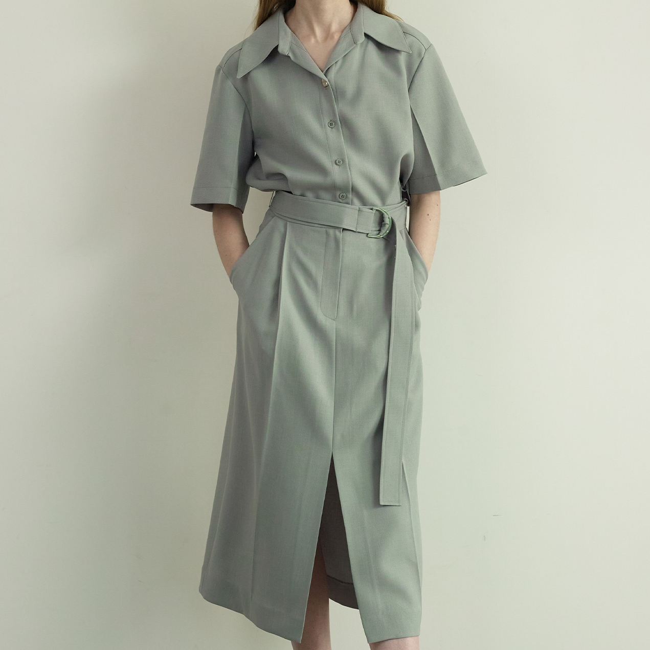 라인스튜디오원 belted shirts slit dress