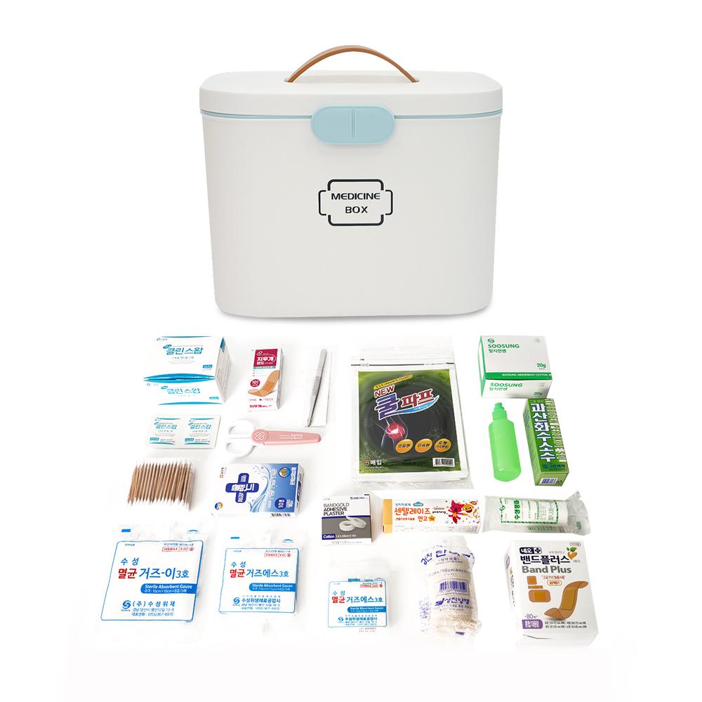 사무실용 구급약품 상비약 2단 분리형 구급함세트 화이트, 1박스 (POP 2112485907)