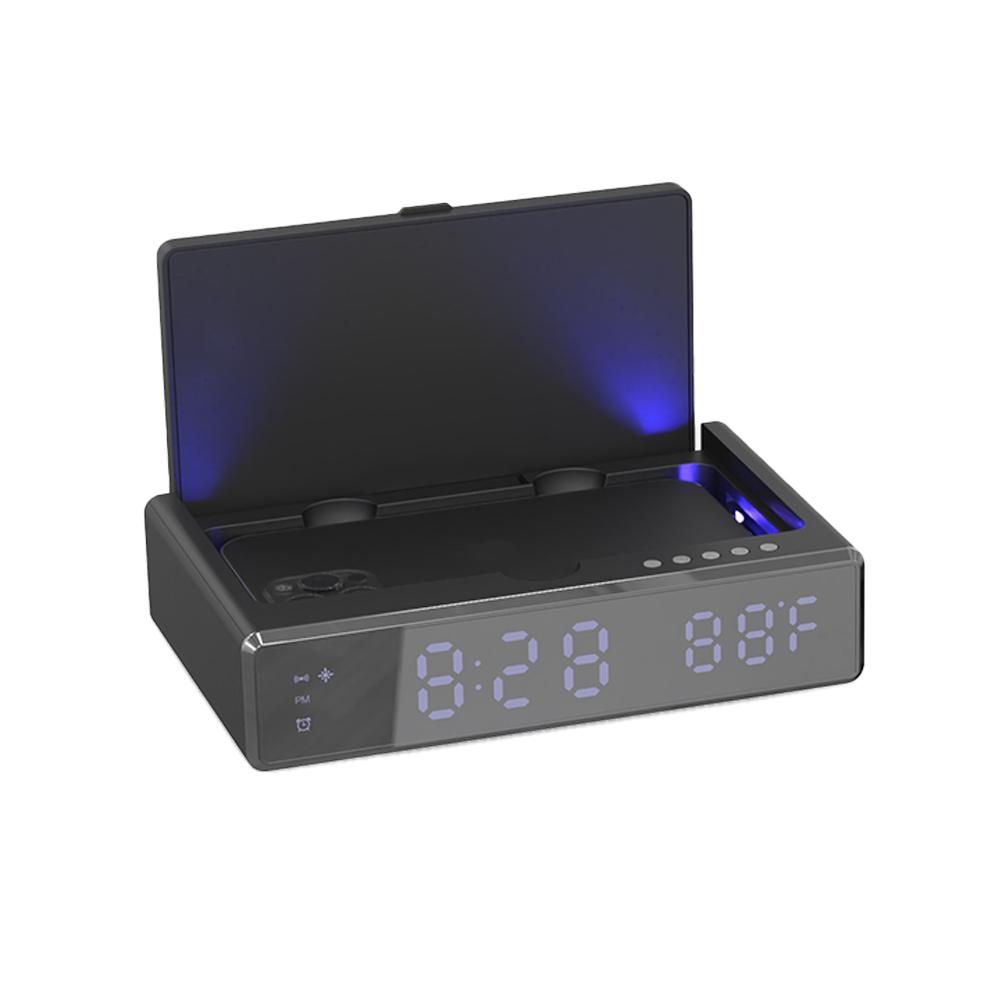 리큐엠 무선충전 LED 탁상알람시계 UV 살균기 블랙 QWC-UV300