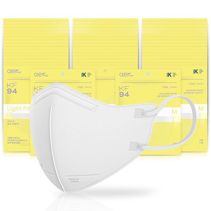 아에르 스탠다드 라이트핏 보건용 마스크 백색 중형 KF94, 1개입, 50개