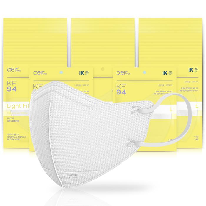 아에르 스탠다드 라이트핏 보건용 마스크 백색 대형 KF94, 1개입, 50개