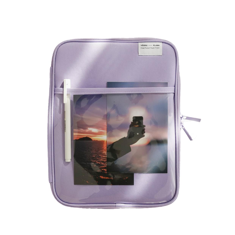 플래나 태플릿 PC 클리어 포켓 파우치 230 x 290 mm, 라벤더-6-5345496009
