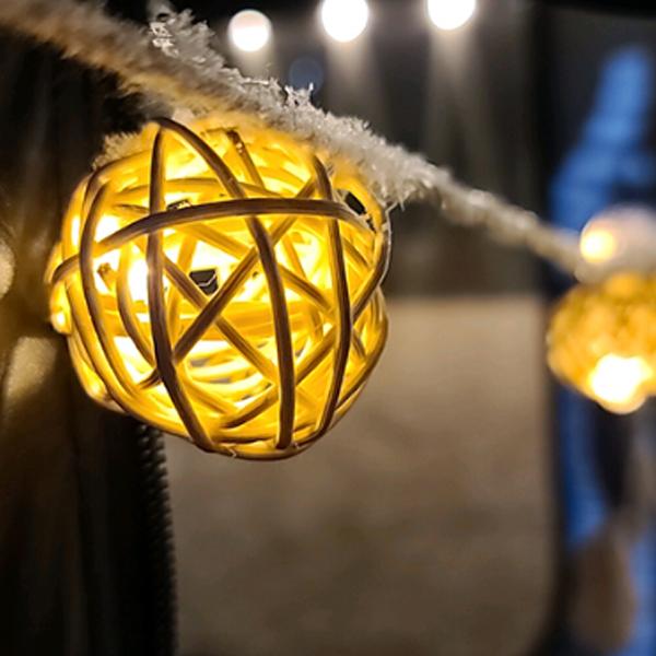 나스카피 감성 캠핑 차박 LED 줄조명 알전구 20구 3m, 라탄볼