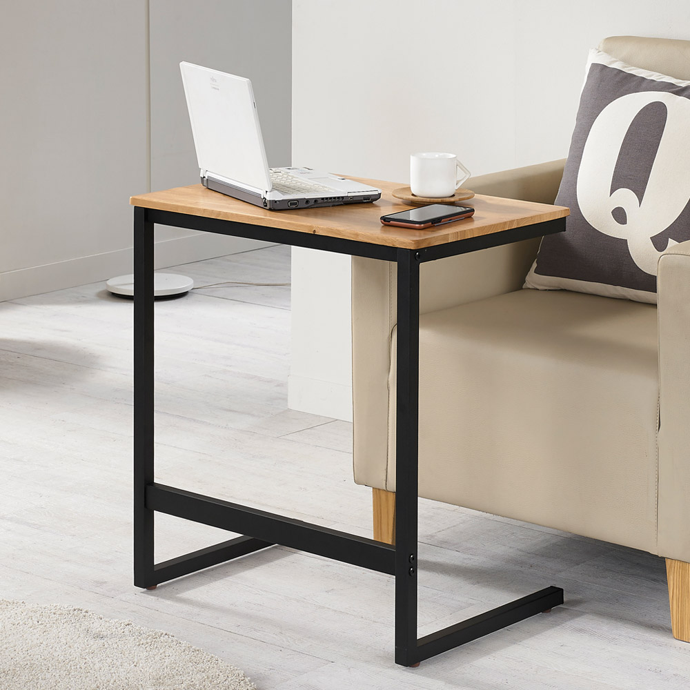 프리메이드 바이브 원목 사이드테이블 600  원목 미색(상판) + 블랙(프레임)아이코닉하우스 플레인 원목 사이드 테이블  내추