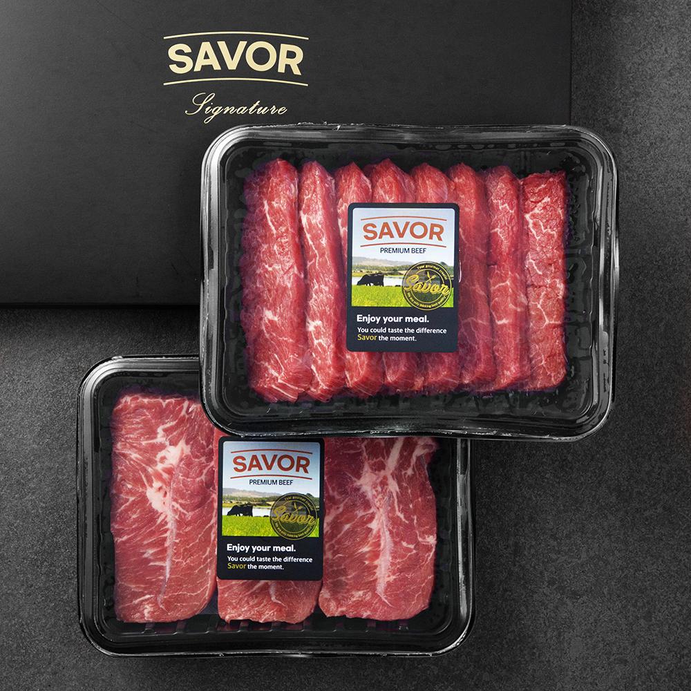 [블랙앵거스] SAVOR 호주산 블랙앵거스 부채살 400g + 치마살 400g (냉장), 1개 - 랭킹7위 (39700원)