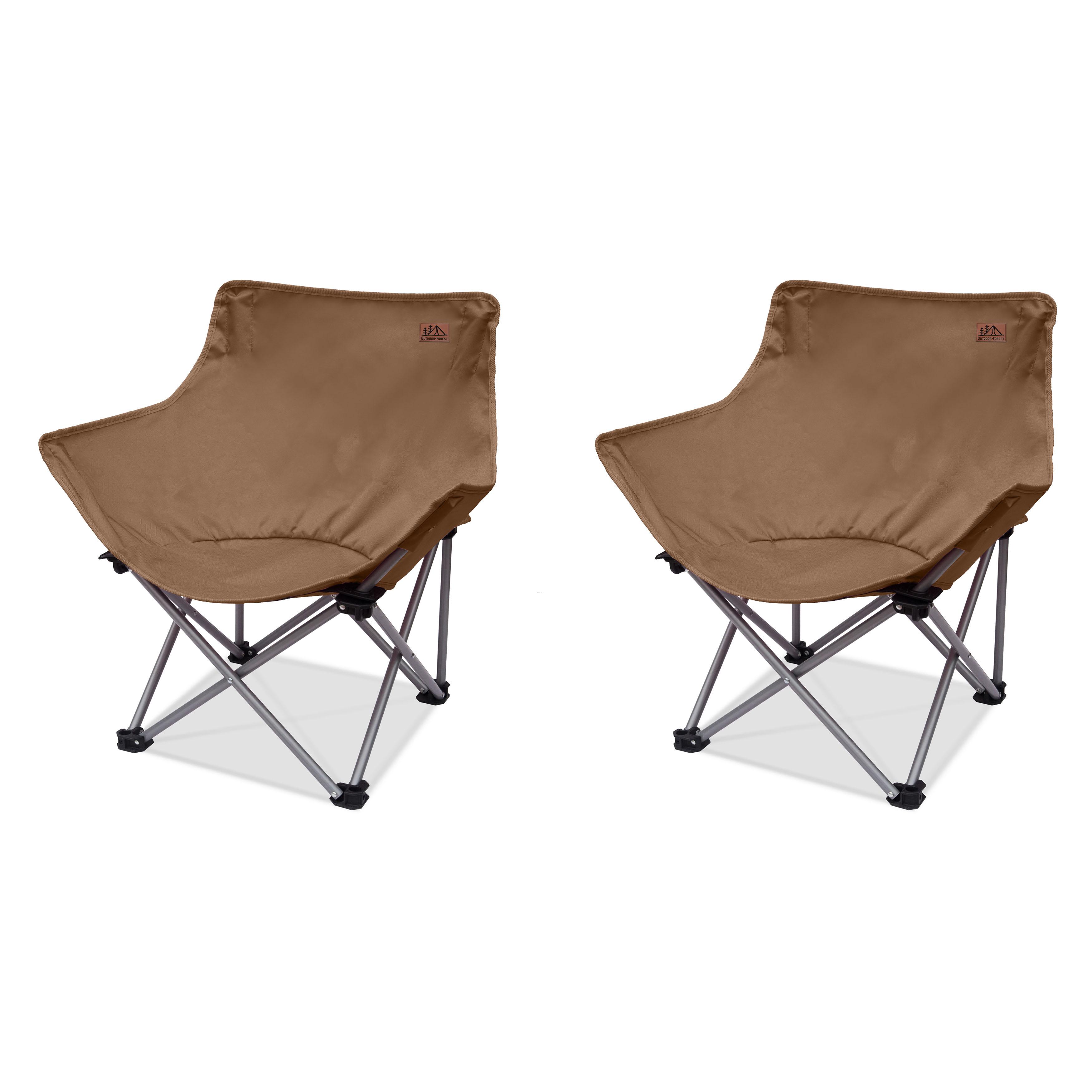 [쿠팡 직수입] 아웃도어 포레스트 컴포트 캠핑 체어 세트, 브라운, 2개