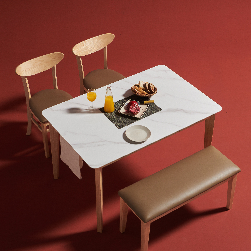 보니애가구 노블리 포셀린 통12T 세라믹식탁세트 4인용, 네츄럴 쿠션벤치형